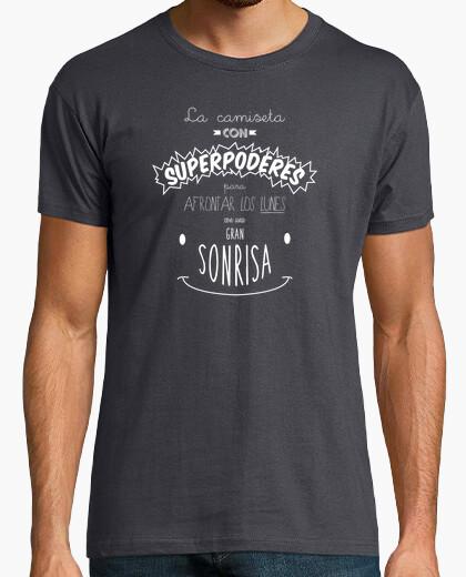 Tee-shirt mots heureux - shirt avec superpuissances pour faire face à les lundi avec un grand sourire - lettre