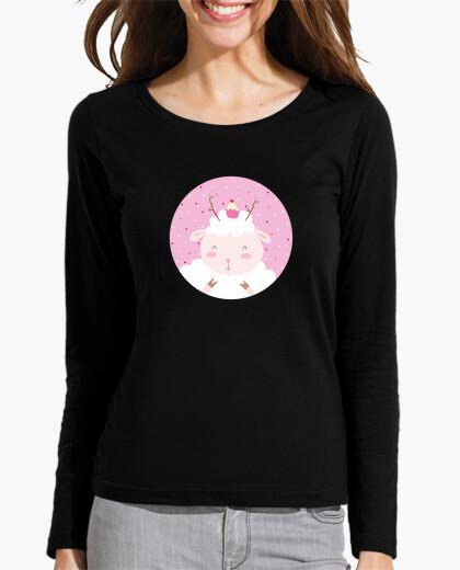 Tee-shirt moutons noël - vous donner pleasures- petit bout de femme à manches longues t-shirt