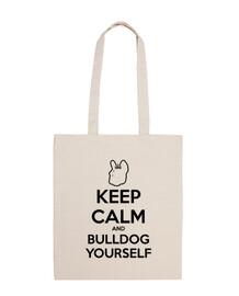 mpf - keep calm and bulldog vous-même. bref sac de poignée.