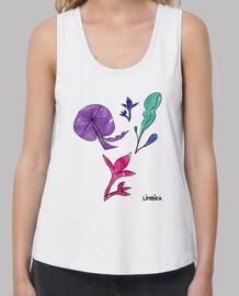 Mujer, camiseta, blanco, tirantes anchos