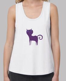 Mujer, con estampa gato Loose Fit, blanca