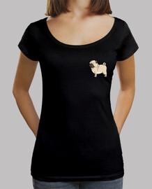 Mujer, cuello ancho & Loose Fit, negra Pug carlino dibujo