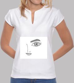 Mujer, cuello mao, blanca
