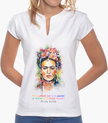 Camiseta Mujer, cuello mao, blanca