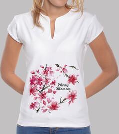 Mujer, cuello mao, Cherry Blossom