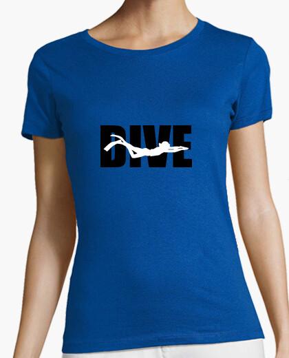 Camiseta mujer de la camisa de buceo, gris oscuro, la mejor calidad