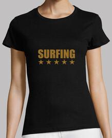 mujer de la camisa de surf, negro, mejor calidad