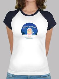 Mujer, estilo béisbol, blanca y azul marino
