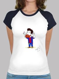 Mujer, estilo béisbol, blanca y azul royal,futbol,messi,barcelona,para ella,regalo,