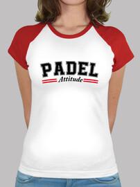 Mujer, estilo béisbol, blanca y roja