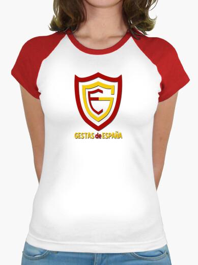 Camiseta Mujer, estilo béisbol, blanca y roja LOGO GESTAS