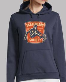 Mujer, jersey con capucha, azul marino, skateboard