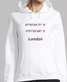 Mujer, jersey con capucha, blanco Coordenadas London