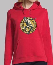 Mujer, jersey con capucha, rojo, skate