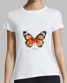 Mujer, manga corta, blanca, mariposa