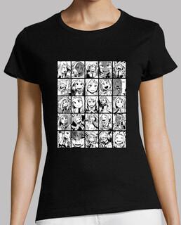 Mujer, manga corta, negra, calidad premium