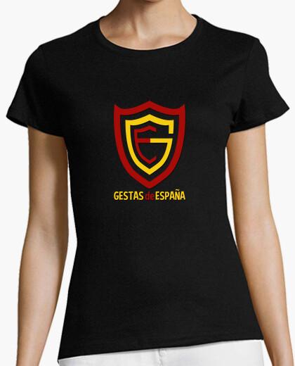 Camiseta Mujer, manga corta, negra, LOGO GESTAS calidad premium