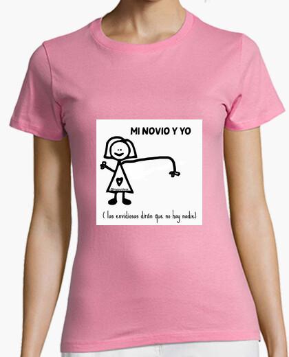 Camiseta Mujer, manga corta, rosa, calidad premium. Novio novia