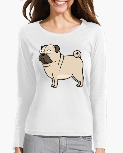 Blanco Manga Carlino Camiseta Pug Larga Mujer Dibujo wxF64T
