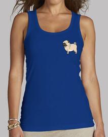 Mujer, sin mangas, azul royal Pug carlino dibujo