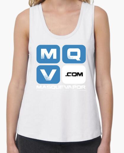 Camiseta Mujer, tirantes anchos & Loose Fit, blanca