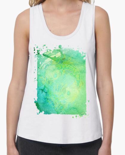 Camiseta Mujer, tirantes anchos & Loose Fit, blanca *