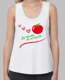 Mujer, tirantes anchos & Loose Fit, blanca, Tomate del huerto