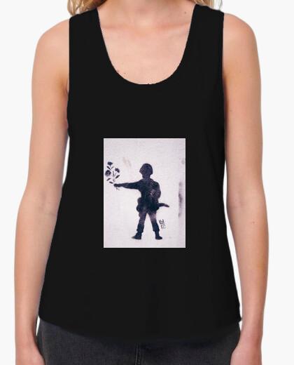 Camiseta Mujer, tirantes anchos & Loose Fit, negra