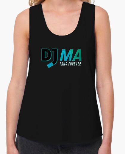 Camiseta Mujer, tirantes anchos.  Loose Fit, negra