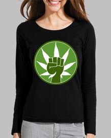 Mujer,cannabis manga larga, negra