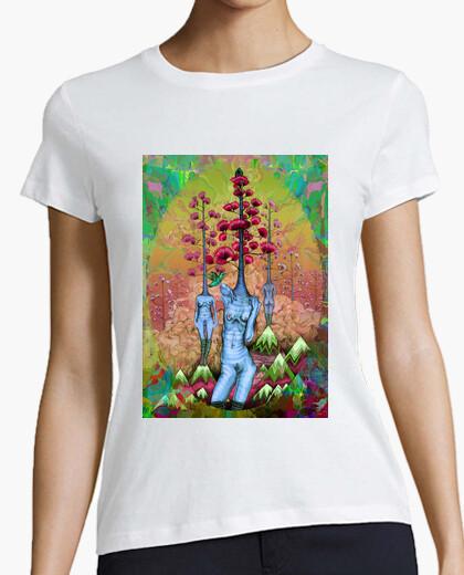 Camiseta mujeres, árboles, flores y montañas