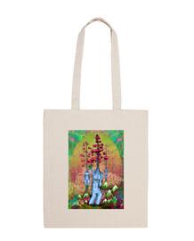 mujeres, árboles, flores y montañas