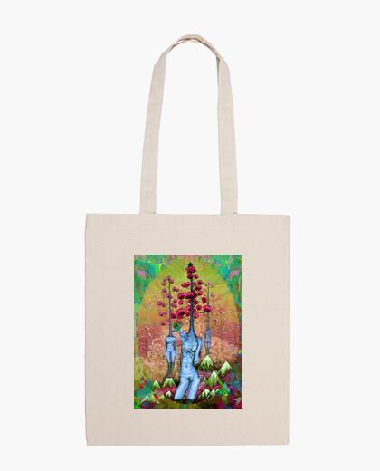 Bolsa mujeres, árboles, flores y montañas