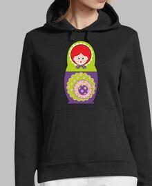 Muñeca rusa verde y violeta