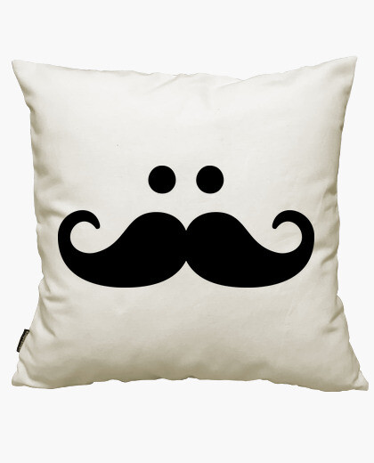 mustache smiley face cushion cover