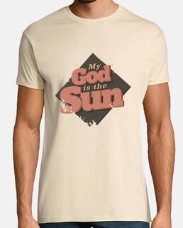 my god is the sun t-shirt man