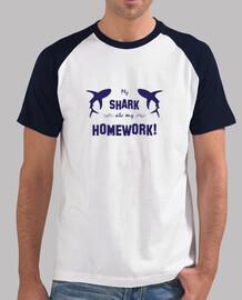 My shark ate my homework - Hombre, estilo béisbol, blanca y azul royal