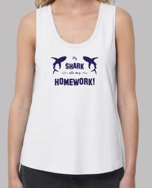 My shark ate my homework - Mujer, tirantes anchos & Loose Fit, blanca