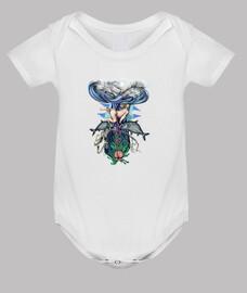 nacimiento, bebe, peces y esqueleto