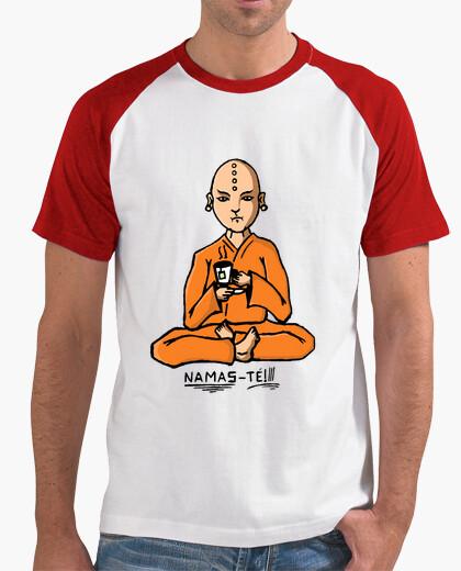 Camiseta Namas- té  Hombre, estilo béisbol, blanca y roja