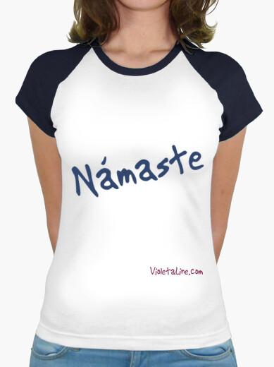 Camiseta Námaste, yoga, mujer, manga corta azul