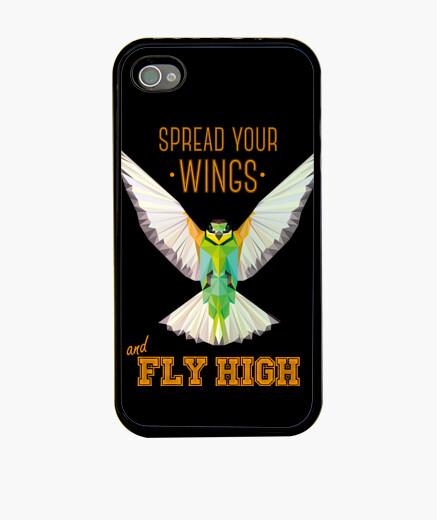 Funda iPhone Naturaleza - Pájaro - geometría. Texto: Despliega tus alas y vuela alto