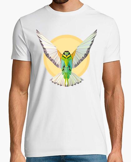 Camiseta Naturaleza - Pájaro - geometría. Texto: Despliega tus alas y vuela alto