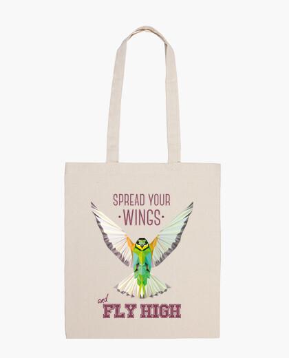 Sac nature - oiseau - géométrie. texte: étaler vos ailes et voler haut