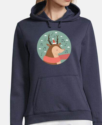 navidad ciervos .. fa la la la la! mujer sudadera