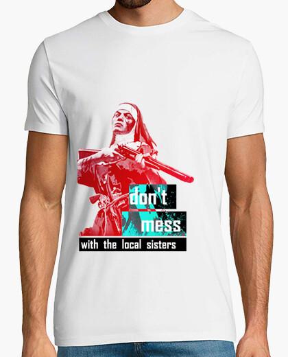 Tee-shirt ne pas jouer avec les sœurs locales # homme tee / blanc