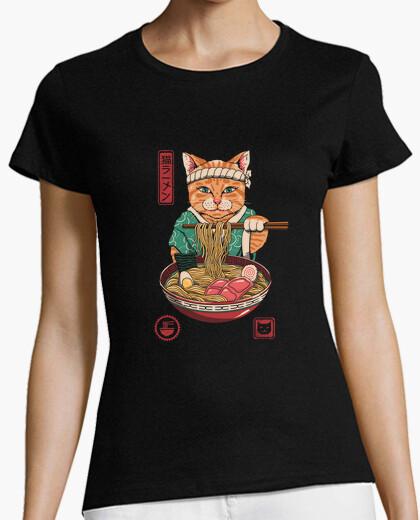 Camiseta neko ramen camisa para mujer