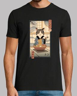 neko ramen ukiyo-e shirt herren