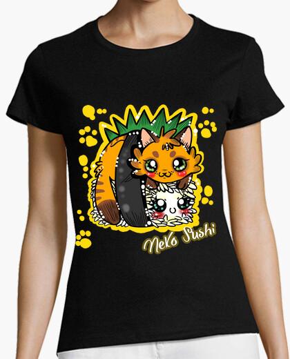 Camiseta neko salmón mujer sushi