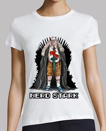 nerd girl stark white shirt